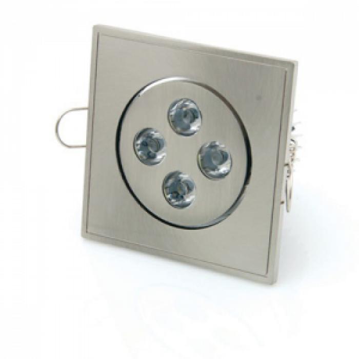 Луна за вграждане 4W LED квадратна топло бяла светлина