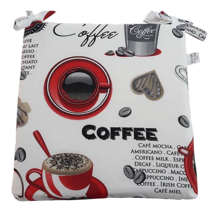 Възглавница за стол с цип 43х40х4см червено кафе