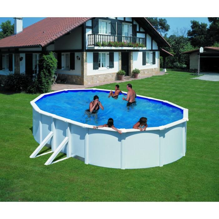 Сглобяем басейн с метална стена и филтърна система овал 610x375х120см