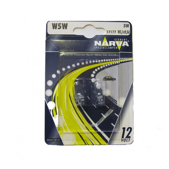 Крушки Narva W5W 12V 5W w2.1x9.5d блистер