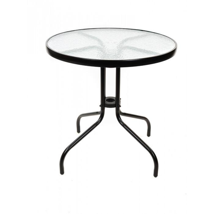 Градинска маса със стъклен плот TLH-070 ø70см