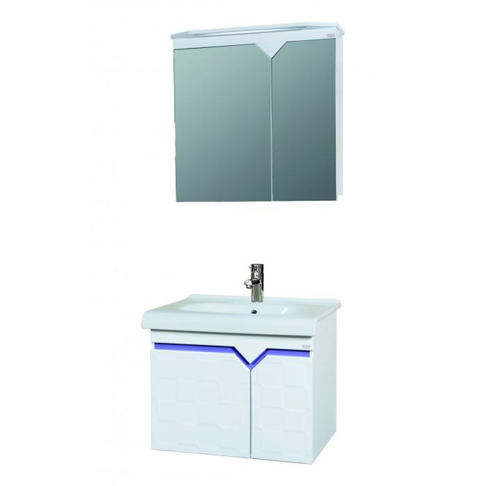 Горен PVC шкаф за баня с огледало Макена Аякс 75х75х15см