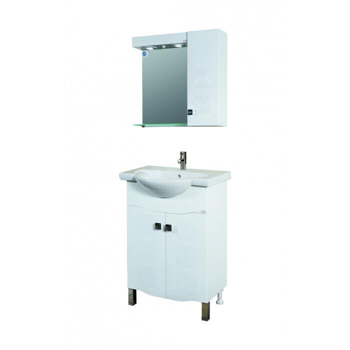 Горен PVC шкаф за баня с огледало Макена Хели 60х55х15см