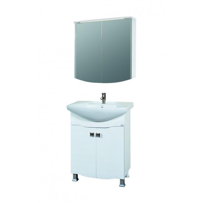 Горен шкаф за баня с огледало и LED осветление Макена Шик 70x70x15см