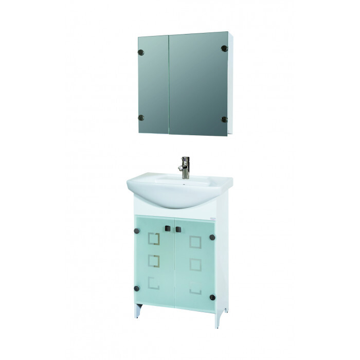 Горен PVC шкаф за баня с огледало Макена Лион 55х75х15см
