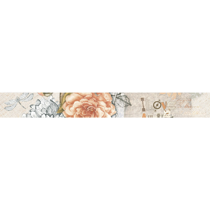 Стенни декоративни плочки фриз IJ Ажур роза 60x500мм светлобежови