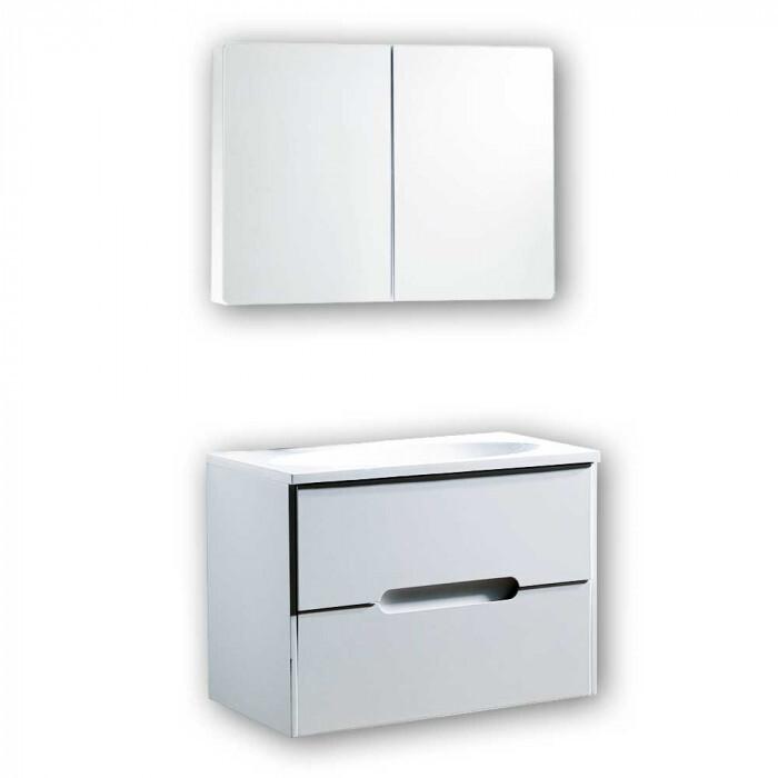 Комплект PVC шкаф за баня с умивалник и огледален шкаф Inter Ceramic 8246W8245