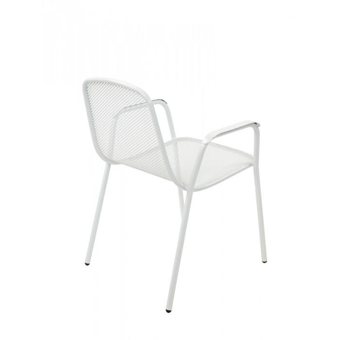 Метален стол с подлакътници My Garden бял