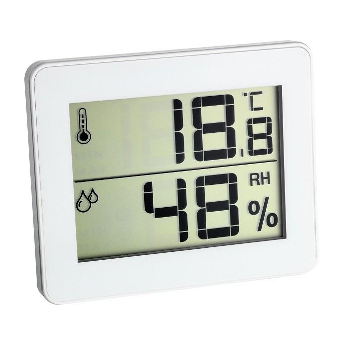 Цифров термометър - хигрометър бял 0°C - 50°C