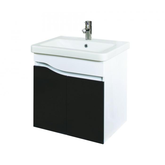 Долен конзолен шкаф за баня с мивка Макена Инес черен