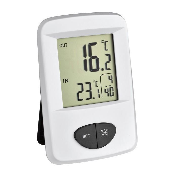 Термометър с часовник и външен безжичен датчик TFA Base