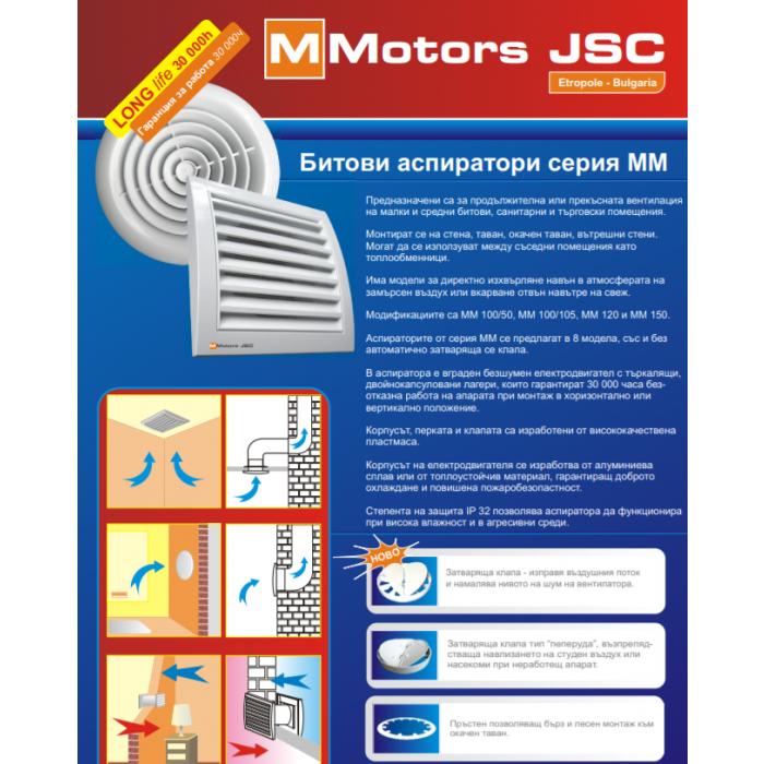 Кръгъл вентилатор за баня с клапа ММ 100 11W