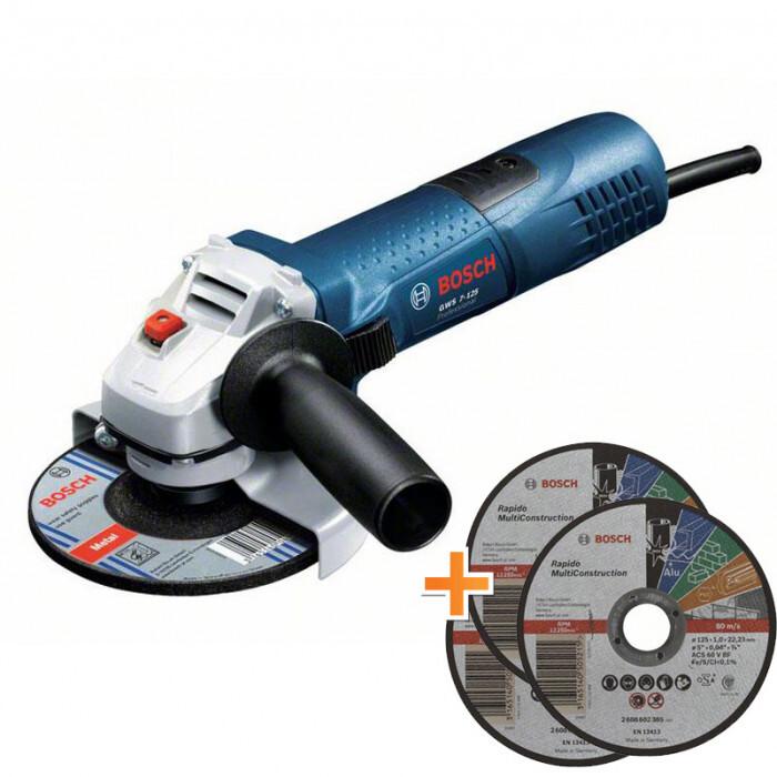 Ъглошлайф Bosch GWS 7-115 E / 720 W / 115 mm / регулиране на оборотите + три диска