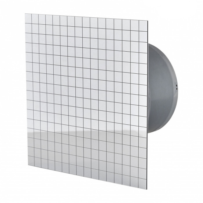 Квадратен вентилатор за баня ММР 100 06 сребърна мозайка 13W
