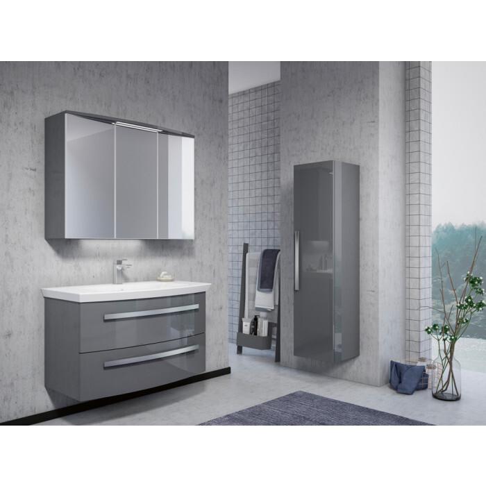 Горен шкаф за баня с огледало и LED осветление Orka Urla/Grey Lacquer 90см