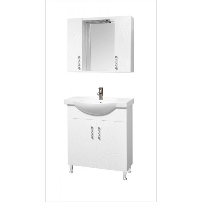 Горен шкаф за баня с огледало и LED осветление Макена Мики