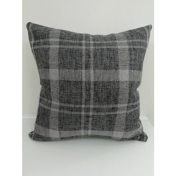 Декоративна възглавница с цип и пълнеж Каре сиво 43х43х13см лен