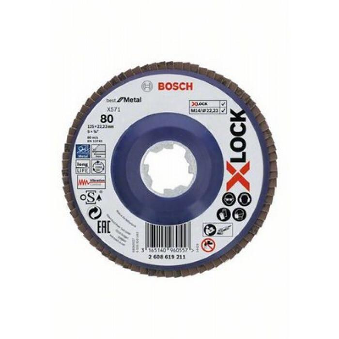 Ламелен прав диск Bosch X-Lock Best for Metal X571 / ø125х22,23mm G80