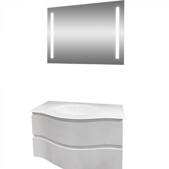 Комплект шкаф за баня с умивалник и LED огледало Макена Барселона