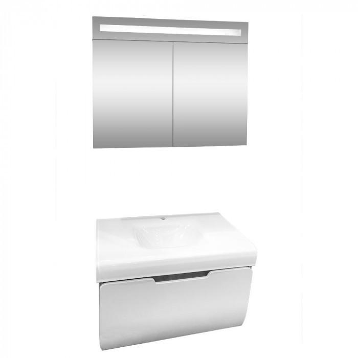 Комплект долен шкаф с умивалник и горен шкаф с LED огледало Макена Малага