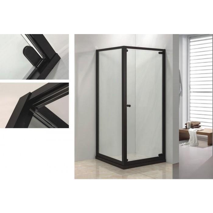 Квадратна душ кабина без корито с врата Cascada B-L1031 90x90x190см / черна