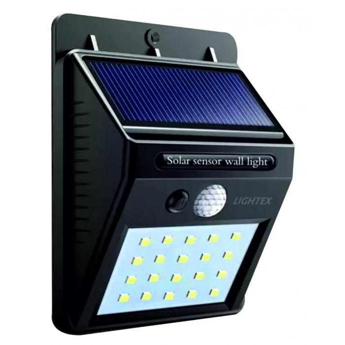 LED соларен аплик със сензор Lightex 3W черен