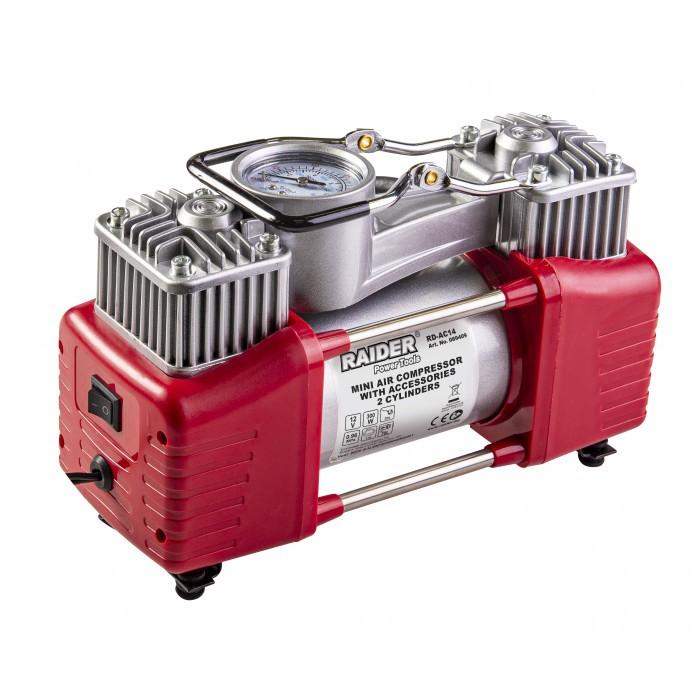Метален компресор Raider RD-AC14 12V DC 300W / 2 цилиндъра с аксесоари