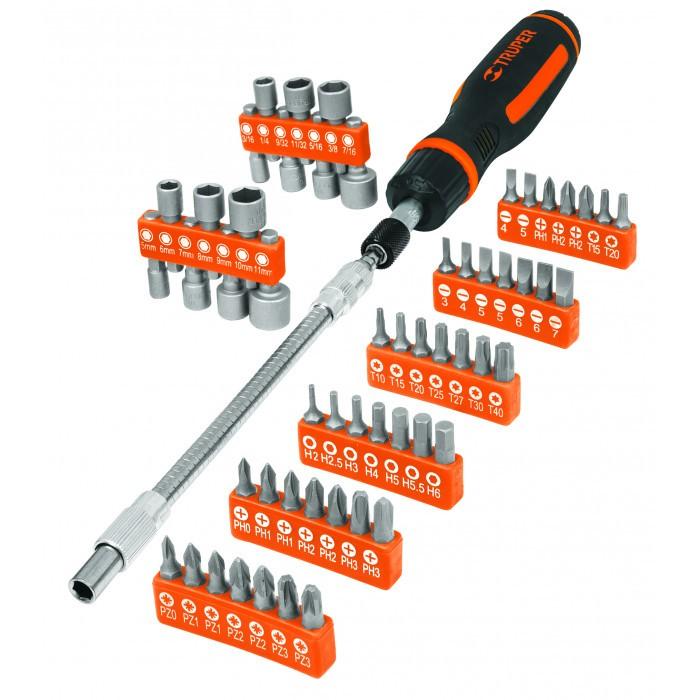Комплект тресчотна отвертка с вложки и битове Truper / 58 части