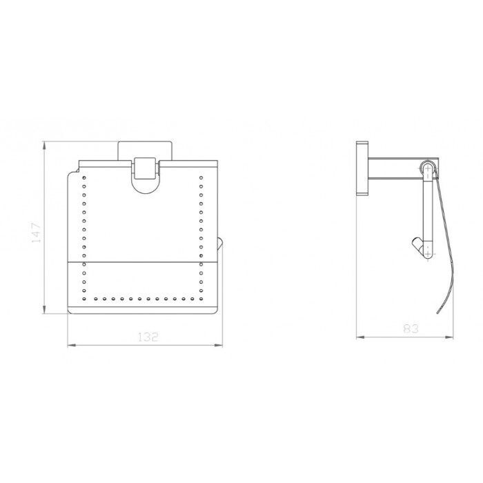 Поставка за тоалетна хартия с капак Makena Square черен мат