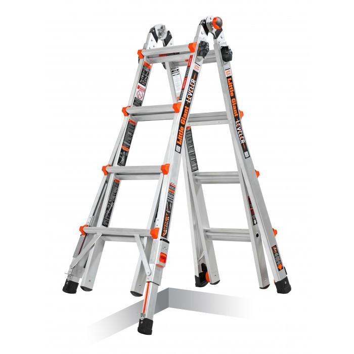 Многофункционална алуминиева стълба Leveler M17 4х4 стъпала / 553см