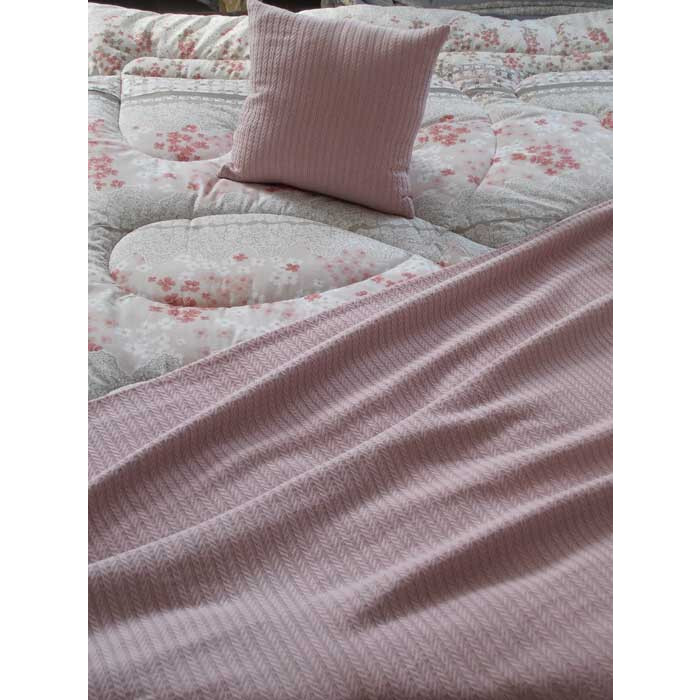 Памучно одеяло кувертюра Плетеница 200х240см розово