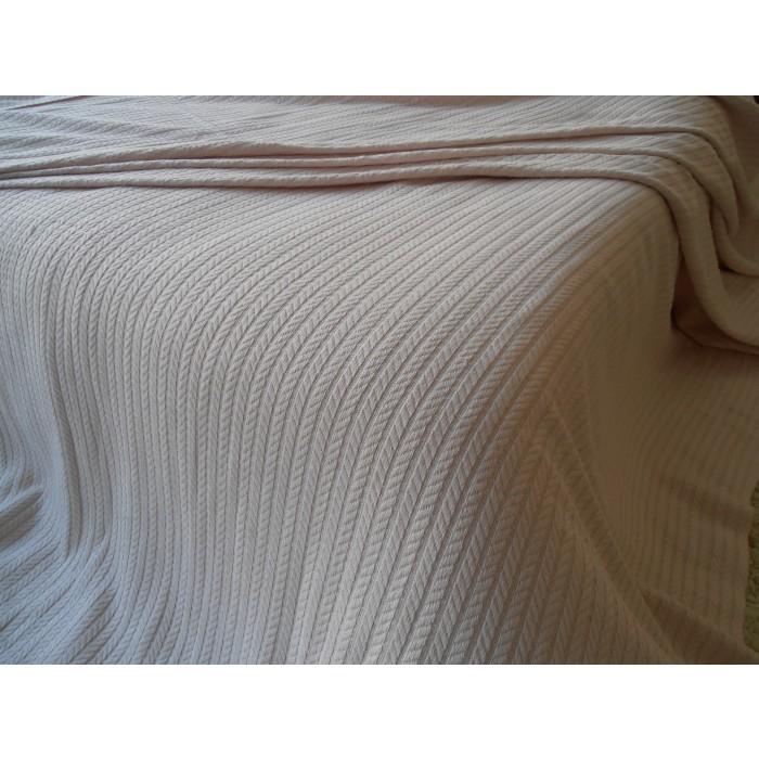 Памучно одеяло кувертюра Плетеница 120х240см бежово