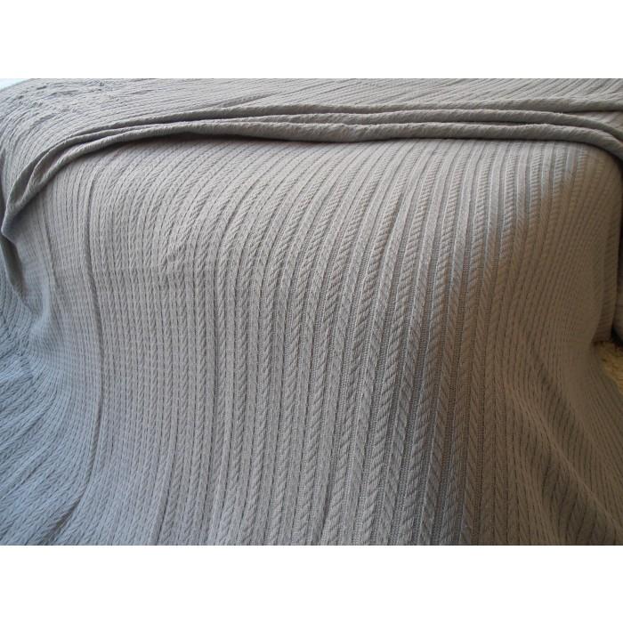 Памучно одеяло кувертюра Плетеница 120х240см сиво