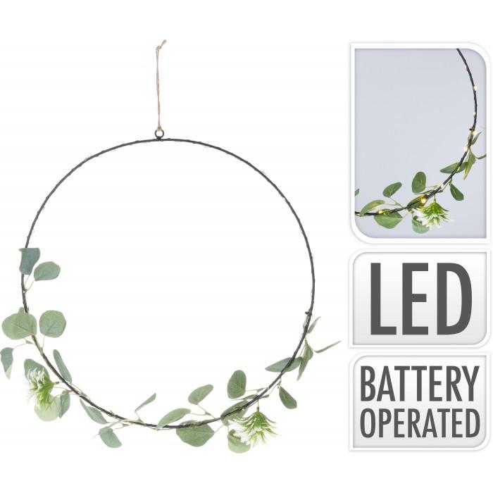 Коледен светещ венец 30 LED / 42см