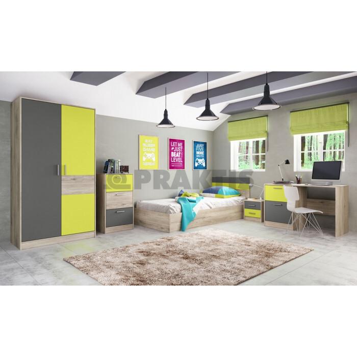 Мебели за детска City 5022 сонома арвен / лимонена трева / графит
