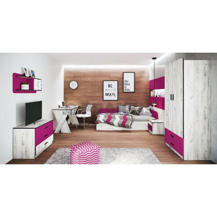 Мебели за детска City 5025 дъб бял / маджента