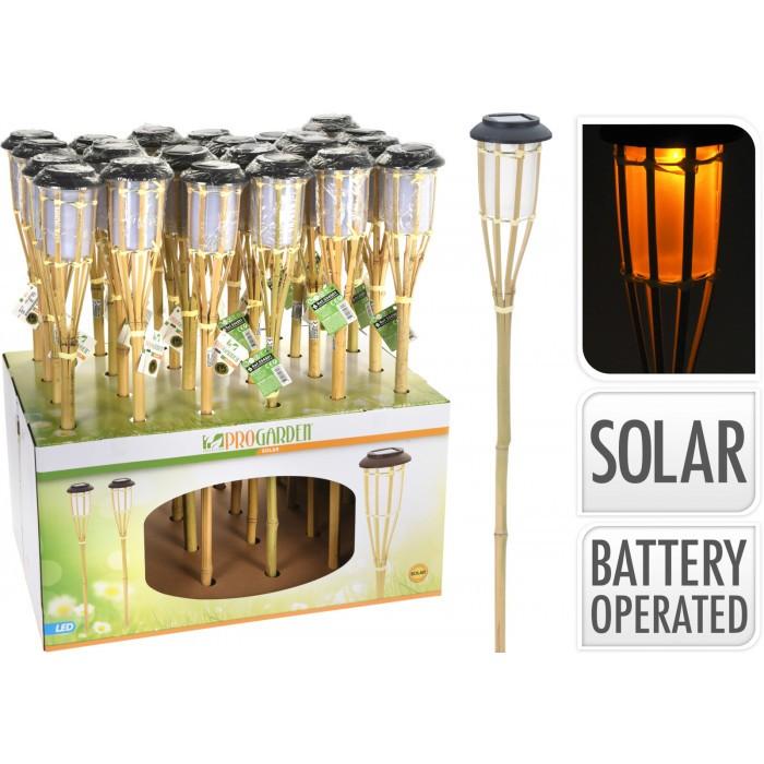 Градинска соларна факла Bamboo 65см