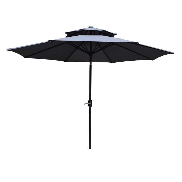 Градински чадър с двоен покрив ZRU012-A тъмносив / черен 270см