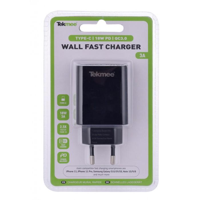 Бързозарядeн адаптер за телефон Type C + USB 3A 18W