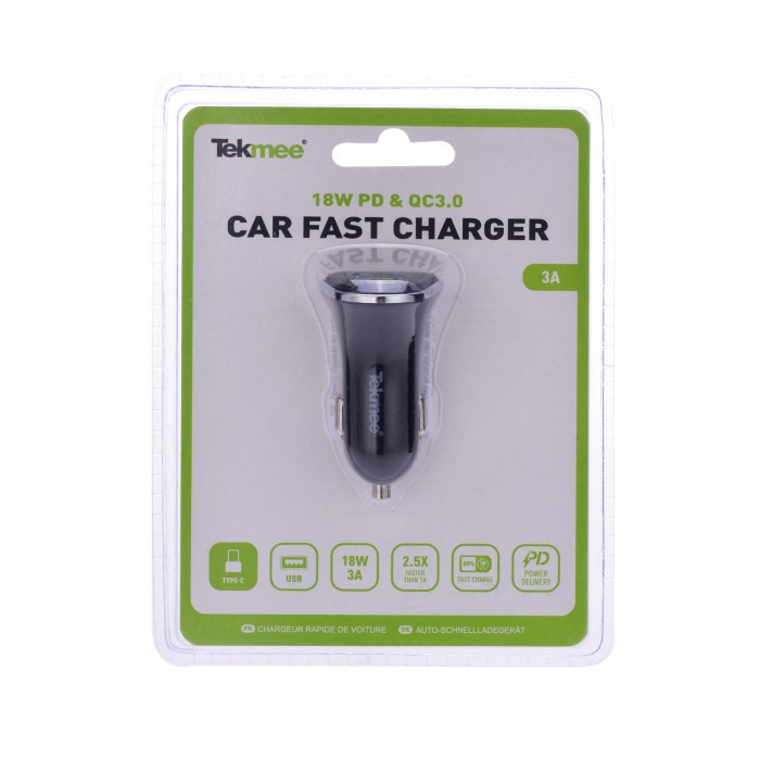 Зарядно за автомобил Type C + USB бързозарядно 3A 18W