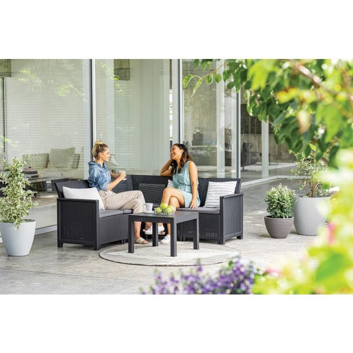 Градински сет 5-местен диван + маса Emma антрацит / сив