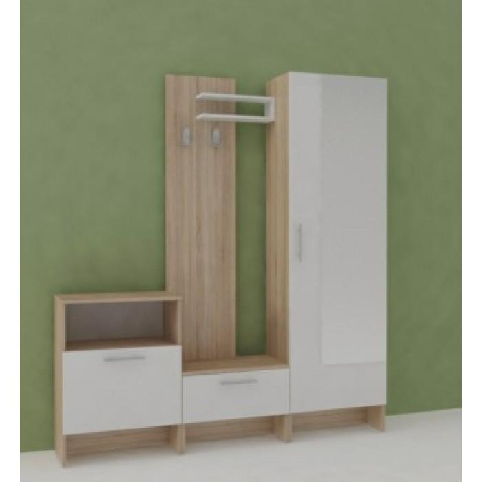 Панел с две закачалки и полица за антре Makena Леонор Сонома + Бяло