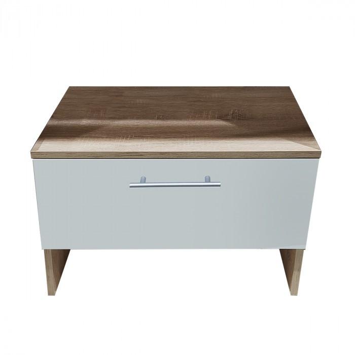 Шкаф с чекмедже за антре Makena Леонор Сонома + Бяло