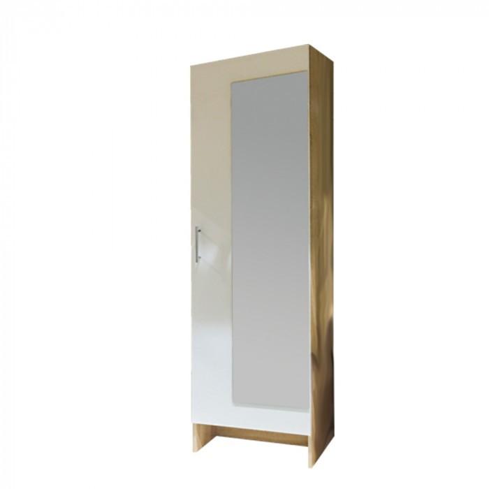 Гардероб с огледало за антре Леонор Сонома+Бяло