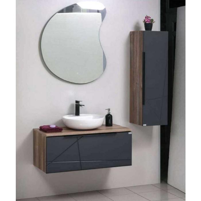 Комплект шкафове за баня - горен с огледало, долен с умивалник и колона 3001
