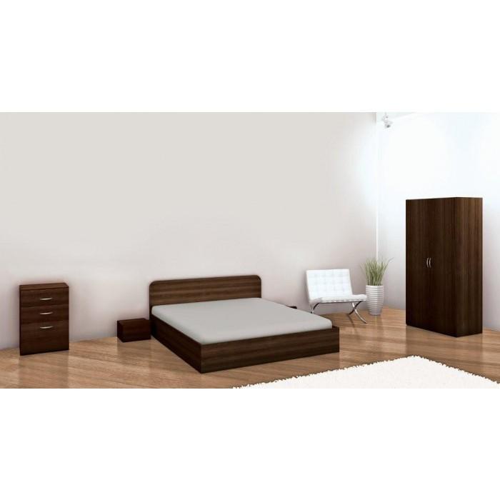 Спалня в комплект с двукрилен гардероб, скрин, нощни шкафчета - венге