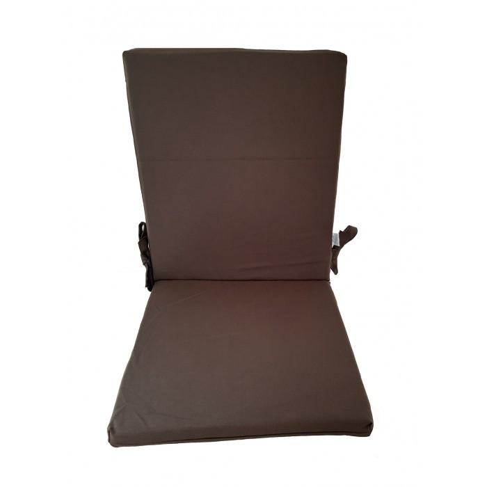 Възглавница за стол с цип 43х90х4см / тъмнокафява