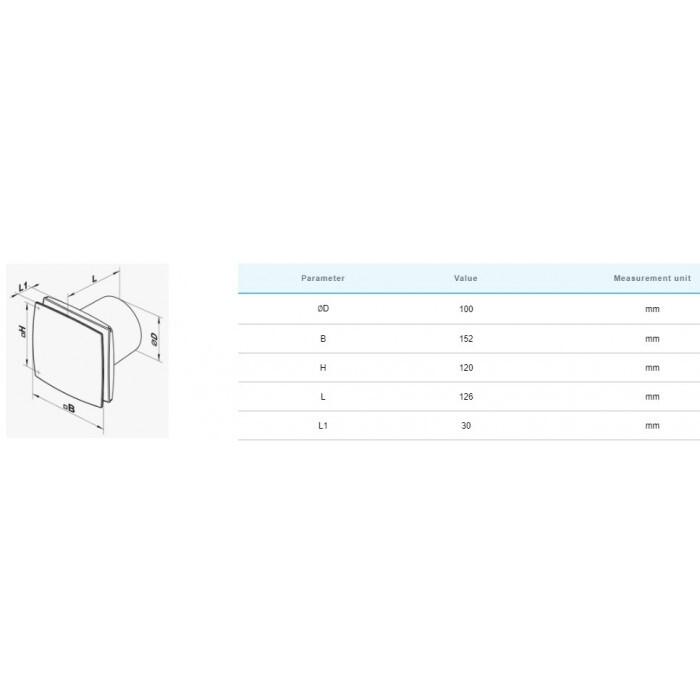 Вентилатор Vents 100 LD Inox 14W
