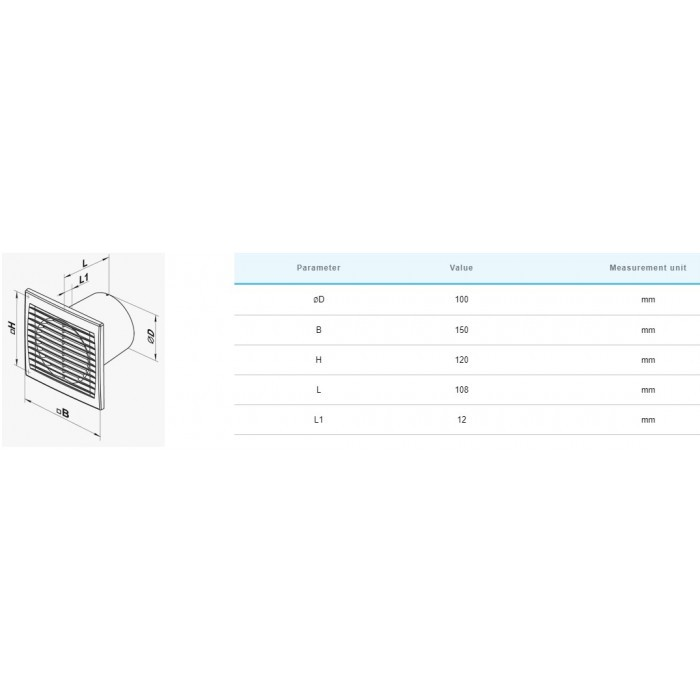 Вентилатор Vents 100STH / 14W