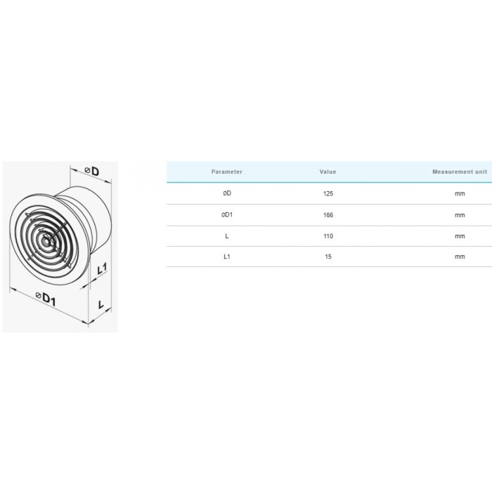 Вентилатор Vents 125 PF хром / 16W
